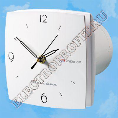 Вентилятор 100 ЛД Фреш тайм ВЕНТС осевой вытяжной с часами арабские цифры D100