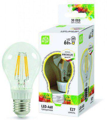 Лампа светодиодная LED A60 PREMIUM 6ВТ 3000к 540лм прозрачная.