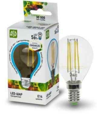 Лампа светодиодная LED шар  PREMIUM 5 ВТ 4000к 450лм прозрачная.