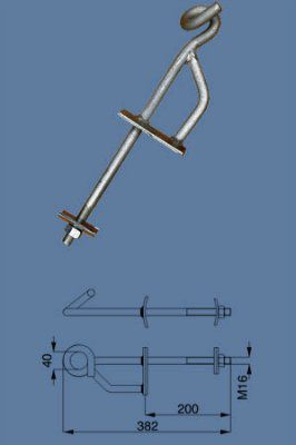 Бандажные крюки для СИП L=200 H 16