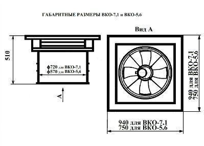 Вентилятор крышный осевой ВКО-5,6