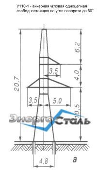 Металлическая анкерно-угловая опора ЛЭП У110-1
