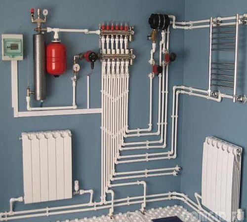 Монтаж системы отопления загородного дома 97 м2.