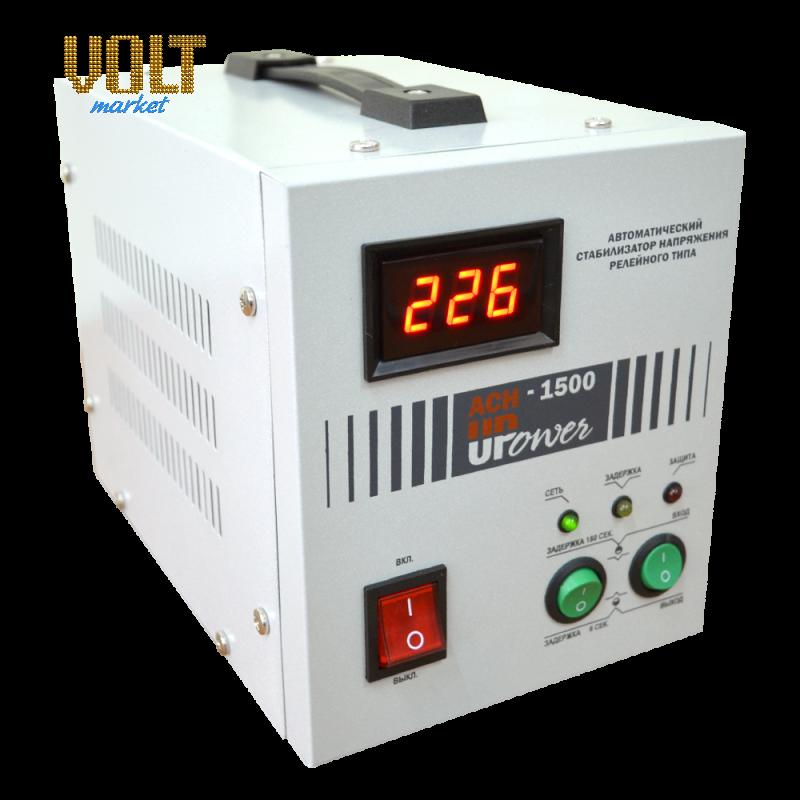Стабилизатор напряжения Upower АСН-1500 с цифровым дисплеем