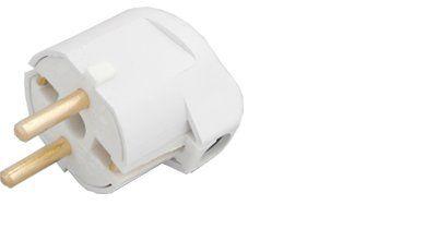 Вилка штепсельная В16-001 с/з угловая белая (Пинск)