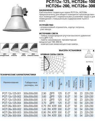 светильник промышленный РСП 12-125-012 стекло, с независимым дросселем