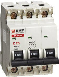 выключатель автоматический модульный 3п 25А С ВА47-63 4.5кА ЭКФ