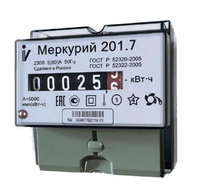 Счетчик электроэнергии однофазный однотарифный Меркурий 201.7