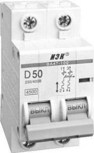 Автоматический выключатель ВА 47-100 2Р 80А 10кА характеристика С
