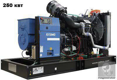 Дизель-генератор 250 кВт SDMO V350C2 (Дизельная электростанция 250 квт SDMO ATLANTIC V350C2), генератор трехфазный 230/380 вольт.