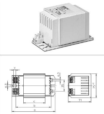 Электромагнитный ПРА (ЭмПРА / дроссель / балласт) NaHJ 400.743 536142 для натриевых и металлогалогенных ламп 400W. Vossloh-Schwabe (Германия)