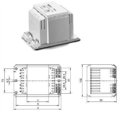 Электромагнитный ПРА (ЭмПРА / дроссель / балласт) NaHJ 400.006 179740 для натриевых и металлогалогенных ламп 400W. Vossloh-Schwabe (Германия)