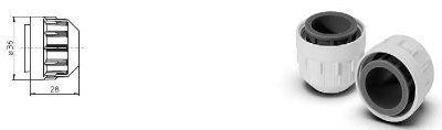 Кольцо резьбовое 84103 529836 для пылевлагозащищенных патронов для T5 ламп: 84101 529832, 84104 530535, 84108 534073, IP65, Vossloh Schwabe (Германия)