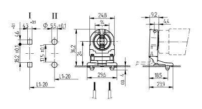 Патрон G13 вставной 26.307.1023.50 для люминесцентных ламп Т8 и Т12, высота оси лампы 24 мм. BJB, Германия. Аналоги: Vossloh Schwabe 27350 100548, LST 15.811, Stucchi 251/S.