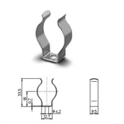 Ламподержатель (клипса) 20400 100442 металлический для люминесцентных ламп Т8 (Т26). Vossloh-Schwabe, Германия. Аналоги: BJB 26.928.-101,14, LST 15.011, AAG Stucchi 37/SVD.