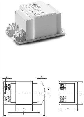 Электромагнитный ПРА ( ЭмПРА / дроссель / балласт) Q 80.588 167304 для ртутных ламп 80W. Vossloh-Schwabe, Германия