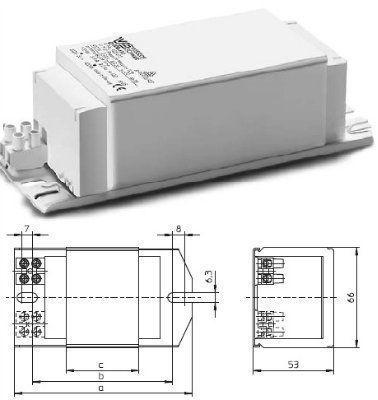 Электромагнитный ПРА ( ЭмПРА / дроссель / балласт) Q 400.616 528236 для ртутных ламп 400W, 220V. Vossloh-Schwabe, Германия