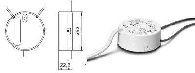 Электронный трансформатор EST 70/12.601 186005 для галогенных ламп 20-70W, 12V, круглый. Vossloh-Schwabe (Германия)