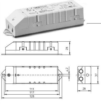 Электронный трансформатор для галогенных ламп EST 105/12.381 186077 для ГЛН 20-105W, 12V. компактный. Vossloh-Schwabe