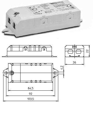 Электронный трансформатор EST 60/12.635 186173 для галогенных ламп 10-60W, 12V, компактный. Vossloh-Schwabe (Германия)