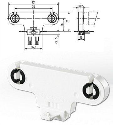 Патрон G13 вставной 26.301.1002.50 двойной для люминесцентных ламп Т8 и Т12, высота оси 26мм. BJB, Германия. Аналоги: Vossloh Schwabe 22604 108816, LST 15.771, Stucchi 907/E.