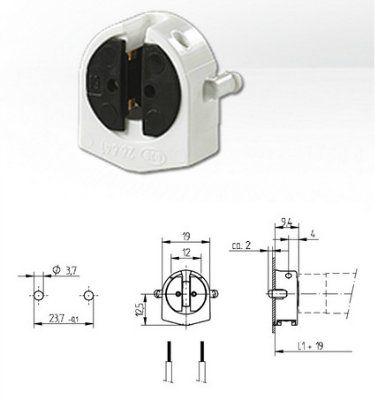 Патрон G5 торцевой 26.641.2001.50 для люминесцентных ламп T5. BJB, Германия.