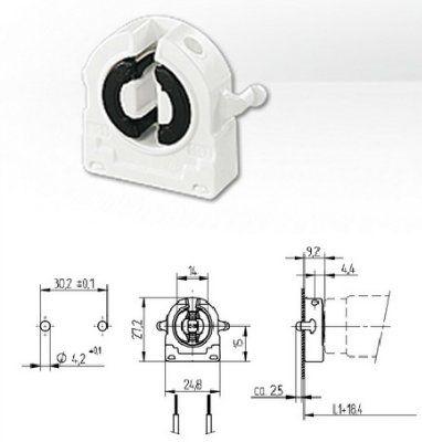 Патрон G13 торцевой 26.422.1009.50 (26.422.4009.50) для люминесцентных ламп Т8. BJB (Германия). Аналоги: Vossloh Schwabe 47105 101685, LST 15.511, Stucchi 345/FAU.