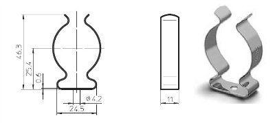 Ламподержатель (клипса) 20401 100444 металлический для люминесцентных ламп Т12 (Т38). Vossloh-Schwabe (Германия). Аналоги: AG Stucchi 38/SVD.
