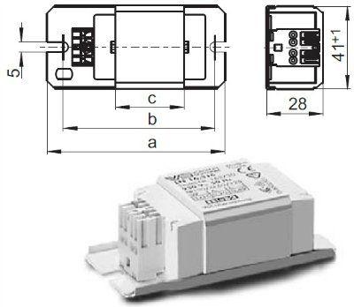Электромагнитный ПРА ( ЭмПРА / дроссель / балласт) L 13.849 503868 для люминесцентных ламп T5 2x6/8W, 1x13W, КЛЛ 2*5/7/9W, 1*10/13W, VOSSLOH-SCHWABE.