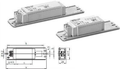 Электромагнитный ПРА ( ЭмПРА / дроссель / балласт) LN 26.813 509502 для компактных люминесцентных ламп TC-D/ TC-T (цоколь G24d-3/GX24d-3) 1х26W. Vossloh Schwabe, Германия.