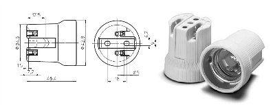 Патрон E27 62050 102599 керамический для ЛН и ГРЛ. Vossloh-Schwabe
