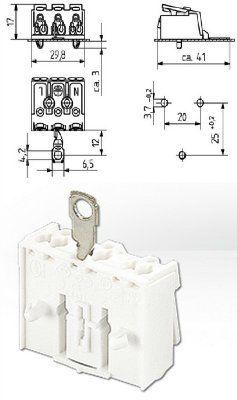 Клемма 3-х полюсная с ламелью для заземления 46.413.1114.50. BJB, Германия.