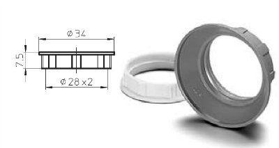 Винтовое (абажурное) кольцо 05202 107154 для E14 патронов, узкое 7,5 мм, белое. Vossloh-Schwabe (Германия).