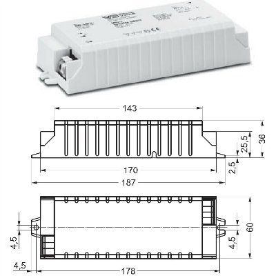 Драйвер (блок питания) ECXe 350.015 186175 для LED источников света (светодиодных светильников) 14-42W, 350mA/ Vossloh-Schwabe (Германия)