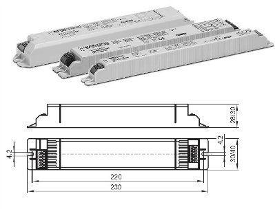 Электронный пускорегулирующий аппарат (ЭПРА/ дроссель/ балласт) ELXc 418.249 183133 для ЛЛ T8 4x18W. (Vossloh-Schwabe, Германия)