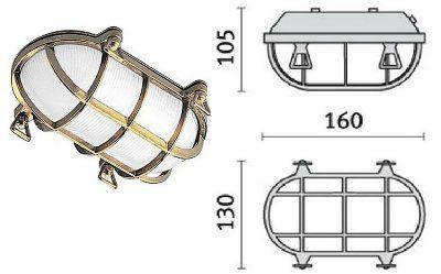 Cветильник TARTARUGA OVALE 60, 007600 пылевлагозащищённый настенный или потолочный(PRISMA, Италия), IP 65