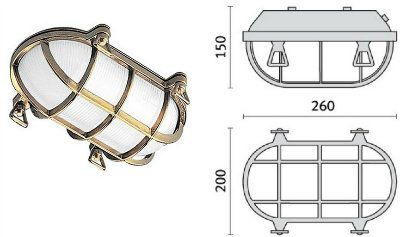 Cветильник TARTARUGA OVALE 200, 007601 пылевлагозащищённый настенный или потолочный (PRISMA, Италия), IP 65