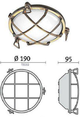 Cветильник TARTARUGA TONDA 100, 007602, пылевлагозащищённый настенный или потолочный (PRISMA, Италия), IP 65