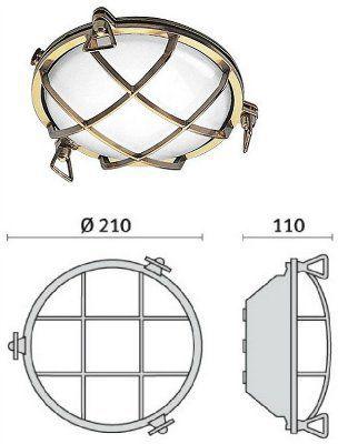 Cветильник TARTARUGA TONDA 200, 007603, пылевлагозащищённый настенный или потолочный (PRISMA, Италия), IP 65
