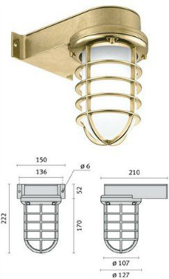 Cветильник SAILOR/G 008800 пылевлагозащищённый настенный (PRISMA, Италия), IP 65