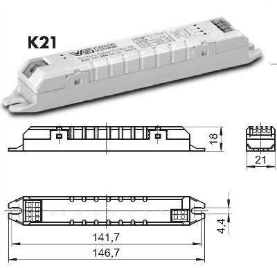 Электронный пускорегулирующий аппарат (ЭПРА/ дроссель/ балласт) ELXs 121.904 188664 для ЛЛ T5 1x14/21W, TC-DEL/TEL 1x13/18W. (Vossloh-Schwabe, Германия)