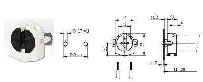 Патрон G5 торцевой 26.641.2002.50 с компенсирующей пружиной для люминесцентных ламп T5. BJB, Германия.
