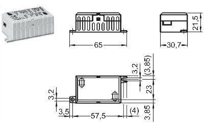 Драйвер (блок питания) ECXe 350.018 186180 для LED источников света (светодиодных светильников) 0,7-8,4W, 350 mA. Vossloh-Schwabe (Германия)