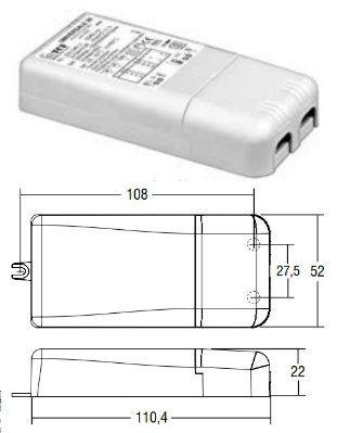 Драйвер (блок питания) 122201 UNIVERSALE 20 универсальный 0-20W, 250-700mA или 16W/24V для LED источников света (светодиодных светильников). TCI, Италия.