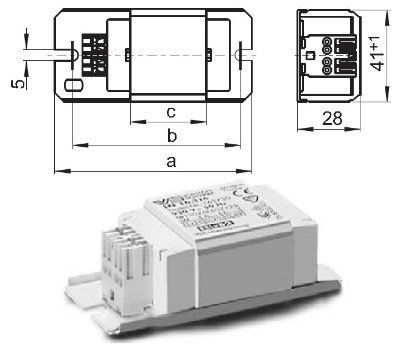 Электромагнитный ПРА ( ЭмПРА / дроссель / балласт) L 4/6/8.304 163683 для люминесцентных ламп T5 1*4W, 1*6W, 1*8W, 2*4W. Vossloh Schwabe, Германия.