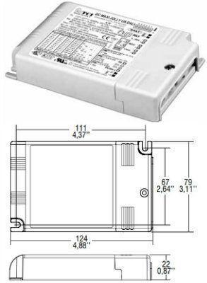 Драйвер (блок питания) 122413 DC MAXI JOLLY US DALI диммируемый (DALI, 1-10 V, PUSH) , универсальный 0-50W/350-1050mA для LED источников света (светодиодных светильников). TCI, Италия.