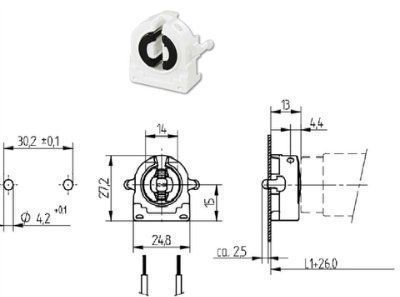 Патрон G13 торцевой 26.422.1013.50 для люминесцентных ламп Т8 и Т12. BJB (Германия). Аналоги: Vossloh Schwabe 47105 101685/509152, LST 15.531, Stucchi 347/FAU.