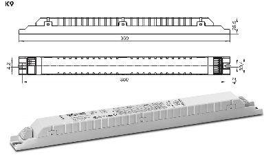 Электронный пускорегулирующий аппарат (ЭПРА/ дроссель/ балласт) ELXe 258.222 188130 для ЛЛ 1x58W, 2x58W, TC-L 1x55W, 2x55W. Vossloh-Schwabe