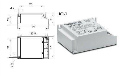 Электронный пускорегулирующий аппарат (ЭПРА/ дроссель/ балласт) ELXc 218.881 183136 для КЛЛ TC-DEL/TEL 2x18W. (Vossloh-Schwabe, Германия