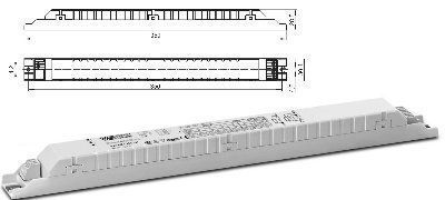Электронный пускорегулирующий аппарат (ЭПРА / дроссель/ балласт) ELXe 238.527 188137 для ЛЛ T8 1*30/36/38W, 2*30/36/38W, КЛЛ 1*36/40W, 2*36/40W . Vossloh-Schwabe, Германия